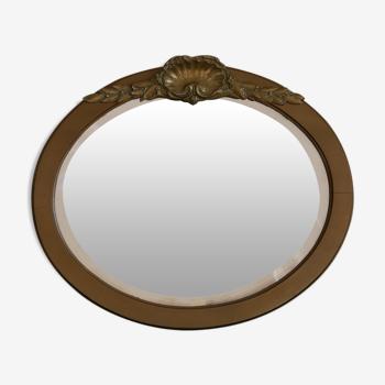 Miroir ovale Art déco en bois doré - 50x58cm