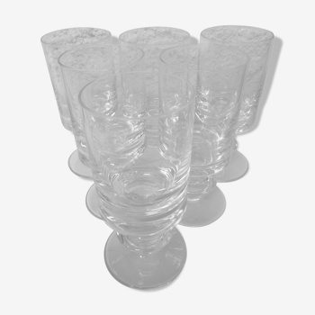 Lot de 6 verres à vin en cristal de Bayel