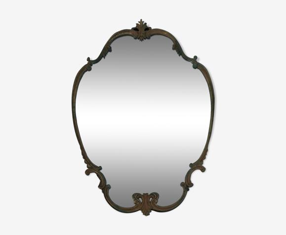 Miroir bronze et laiton années 40 55x76cm