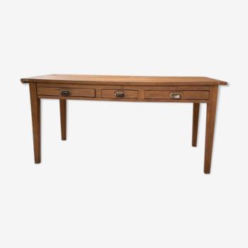 Table de ferme merisier & chêne 2m60