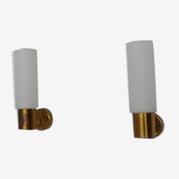 Pair of Mid-Century Swedish Brass and Glass Wall Lights