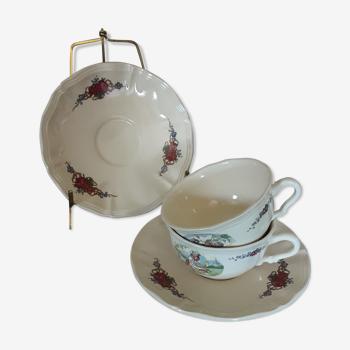Set de tasses soucoupes - Sarreguemines - Obernai