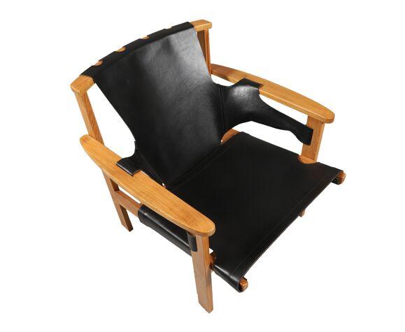 Fauteuils Carl-Axel Acking pour NK Nordiska Kompaniet Trienne en chêne teinté et cuir, Suède,