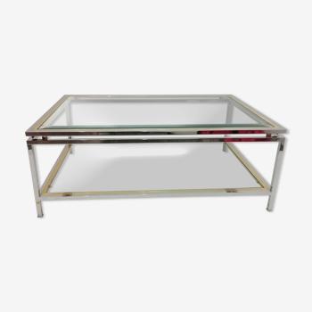 Table basse «Romeo Rega» en verre et métal chromé années 1970