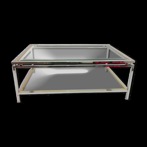 Selency Table basse «Romeo Rega» en verre et métal chromé années 1970