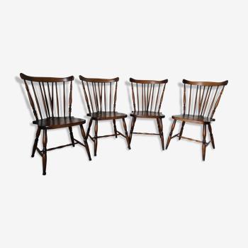 Ensemble de 4 chaises bistrot anglaises vintage