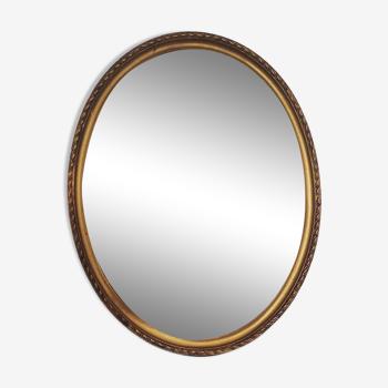 Miroir ovale doré 43x54cm
