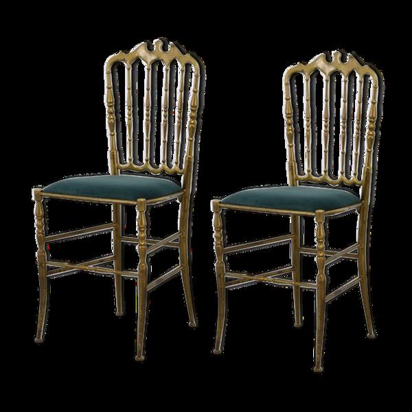 Selency Paire de chaises Chiavarine en bronze, années 50