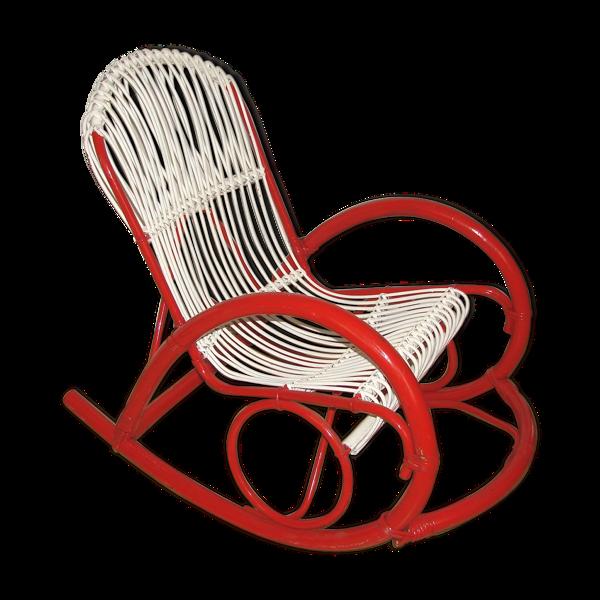 Rattan rocking chair Rohe Noordwolde, années 1970