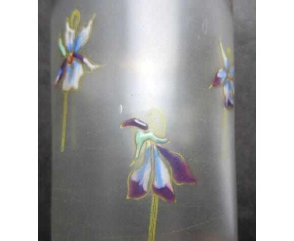 Verre XIXème incolore et givré émaillé Legras semis de violettes