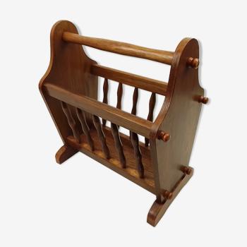 Porte-revues rustique en bois