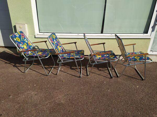 Lot de 4 chaise de camping pliante vintage bleu fleur