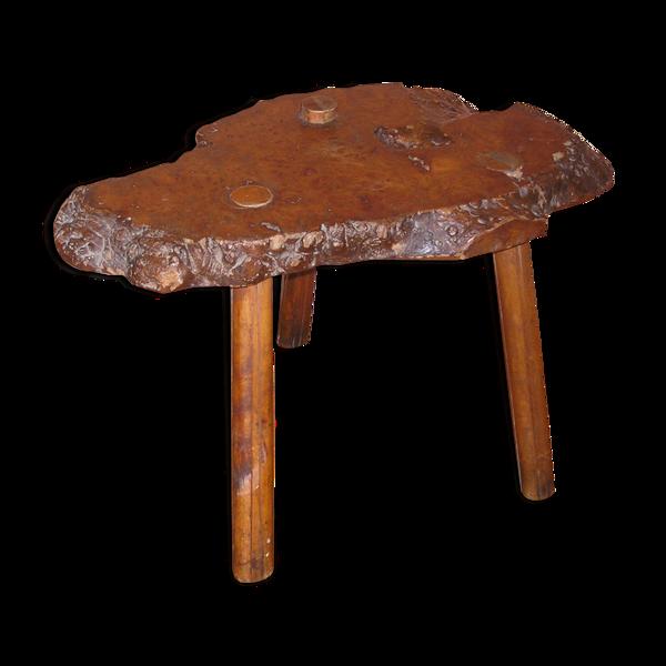 Table basse tripode en loupe d'orme