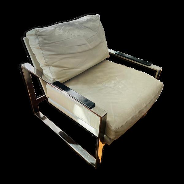 Fauteuil design loft - Cuir beige et acier