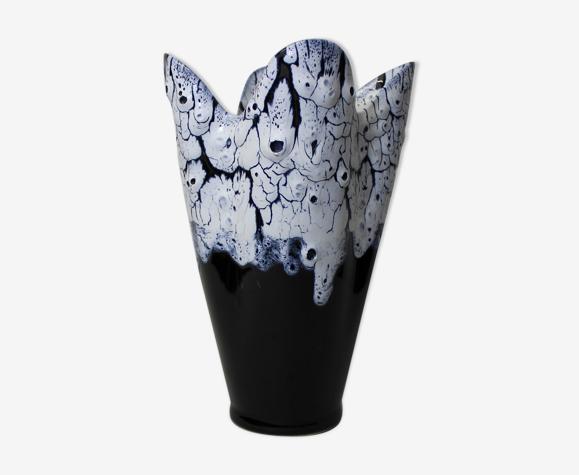 Vase vintage noir et blanc Vallauris