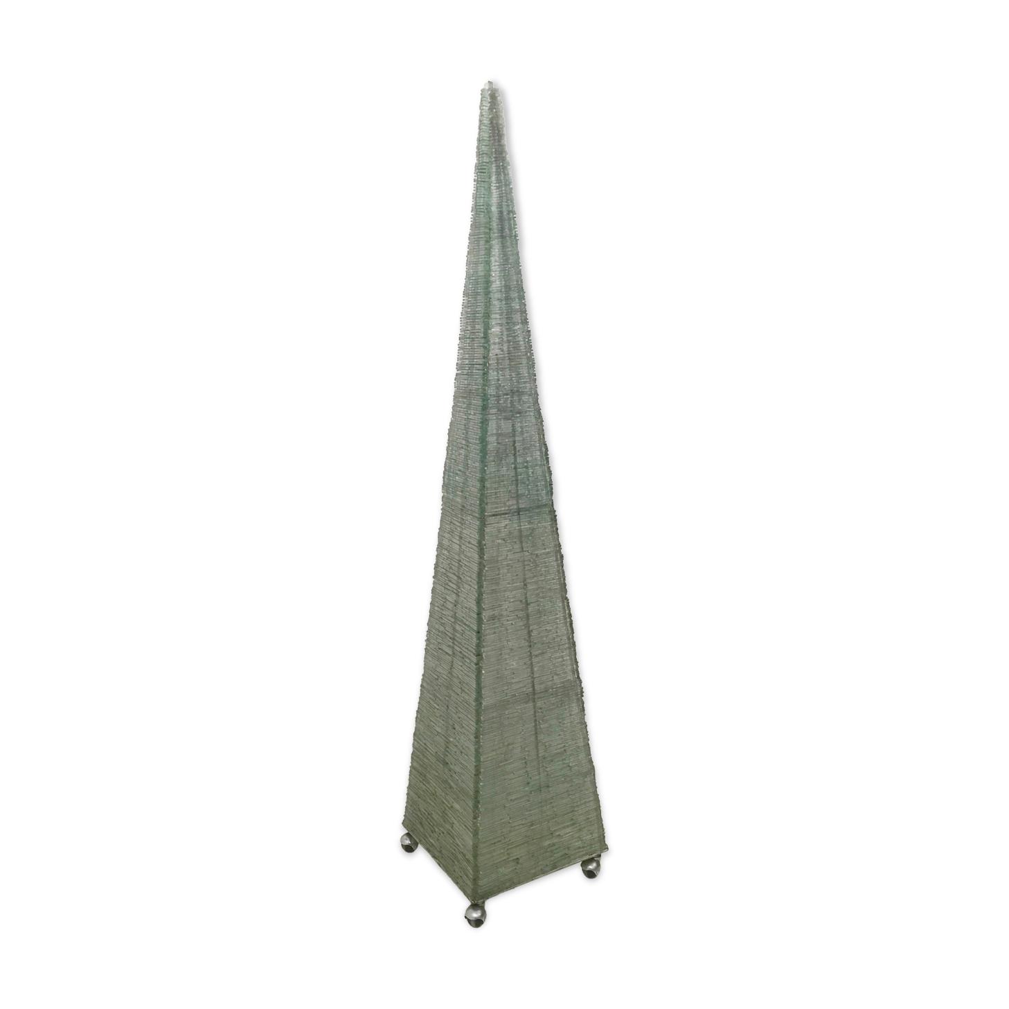 Lampadaire pyramide vintage avec perles de verre vert, italie des années 1980