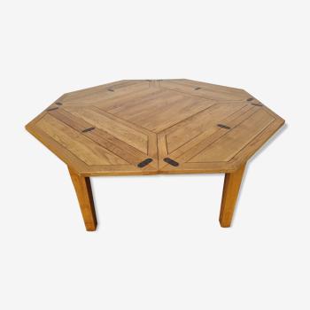 Table repas transformable carré octogonale années 80