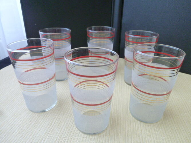Set de 6 verres à orangeade forme gobelet décor en verre granité  Vintage
