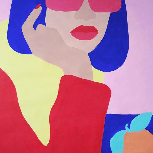 """Peinture """"meuf à l'orange"""" 60x80"""