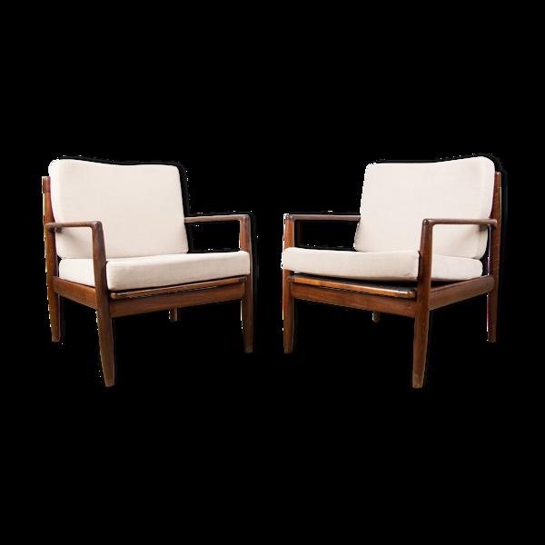 Paire de fauteuils danois en teck par Ib Kofod Larsen 1960.