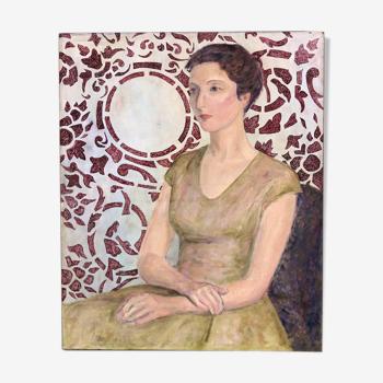 """Tableau """" La femme au papier peint"""""""