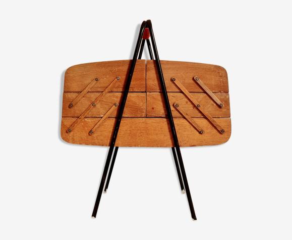 Travailleuse rétro des années 60 bois et métal
