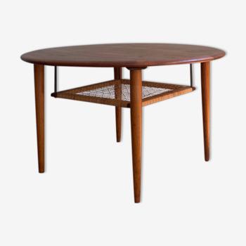Table basse ronde danoise midcentury par Johannes Andersen