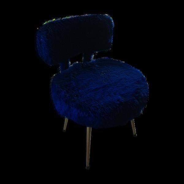 Chaise Pelfran moumoute bleu