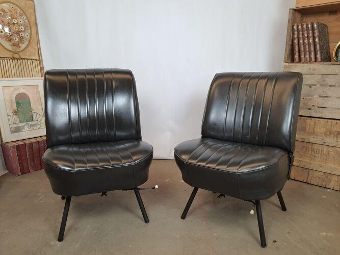 Paire d'ancien sièges de voiture simili cuir noir