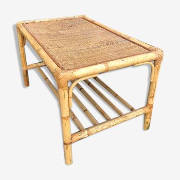Table basse vintage en bambou et rotin