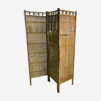Paravent en bamboo vintage
