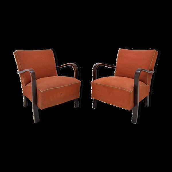 Lot de 2 fauteuil armchairs de Halabala, 1930's.