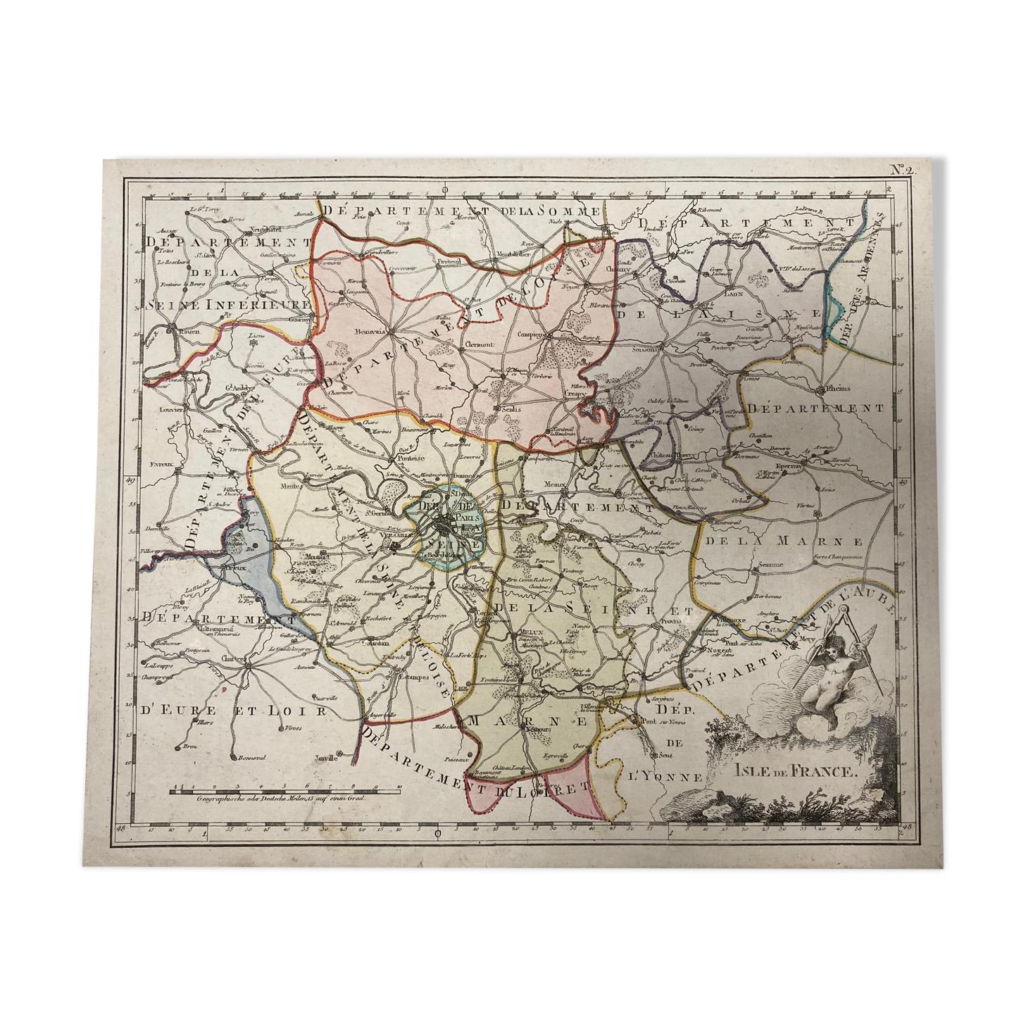 Carte ancienne de l'Île-de-France