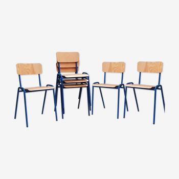 Lot 6 chaises scolaire en métal et bois