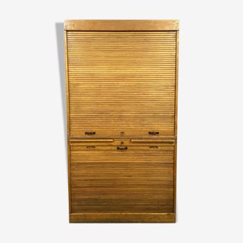 """Meuble de notaire dit """"classeur a rideaux"""" en chêne clair vers 1940"""