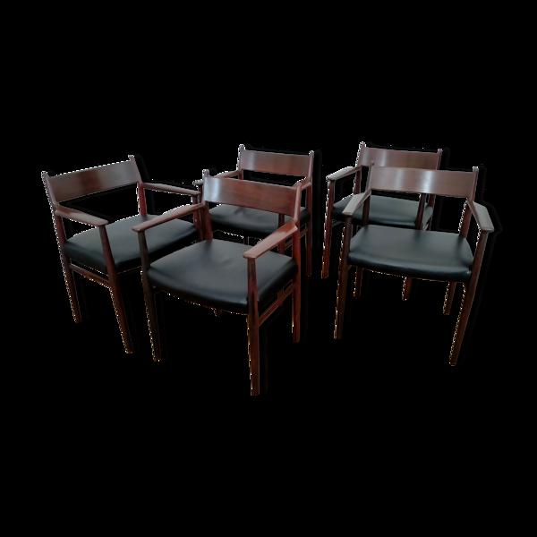 Fauteuil modèle 431 et 5 chaises modèle 418 par Arne Vodder pour Sibast