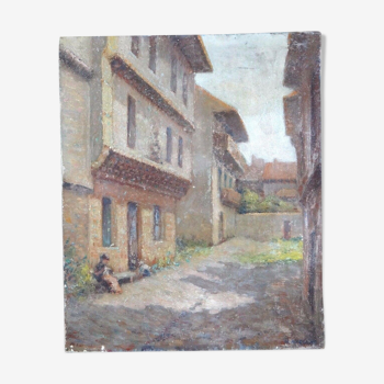 Oil on canvas lady sitting in alley Narcissus Ancelme (1872-1938) Art Lorrain alsace 46x38cm