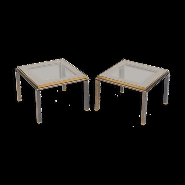 Paire de tables basse en laiton et verre