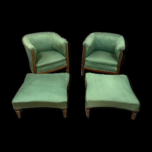 Paire de fauteuils époque art nouveau en bois naturel avec reposes pieds