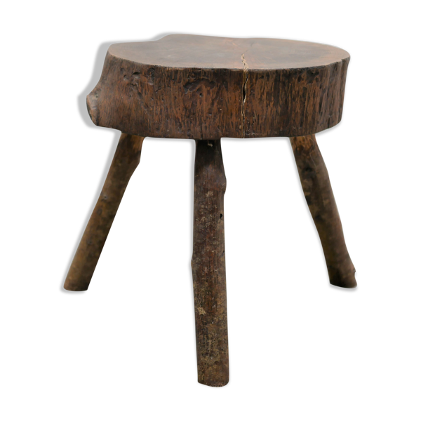 Tabouret de ferme tripode brutaliste vintage en bois