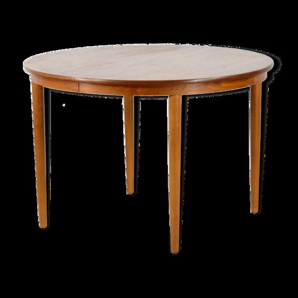 Table ronde extensible du teck danois du milieu du siècle par Farstrup