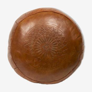 Pouf Fes handmade leather tobacco 40 X 25 cm