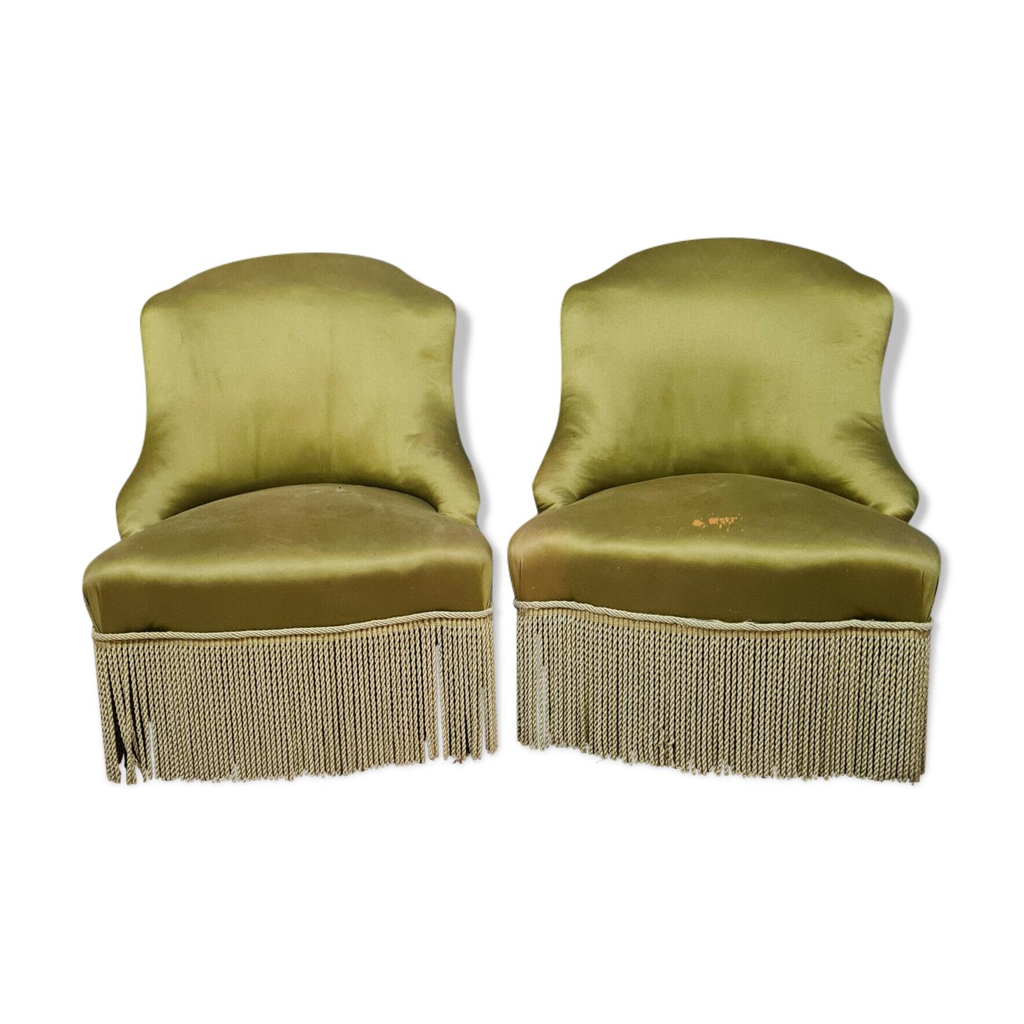 Paire de fauteuils ou chauffeuses crapaud époque Napoléon III vers 1850-1880