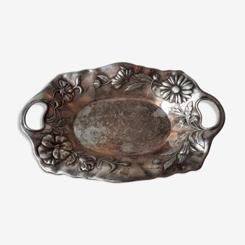 Plat art nouveau en métal argent marqué wiskerman