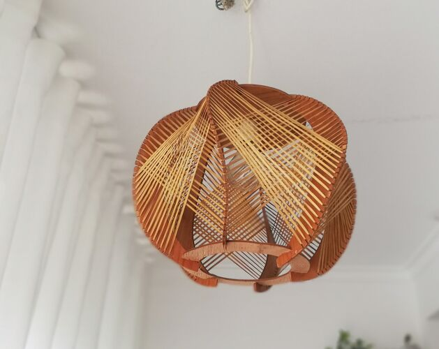 Plafonnier vintage en bois des années 1960