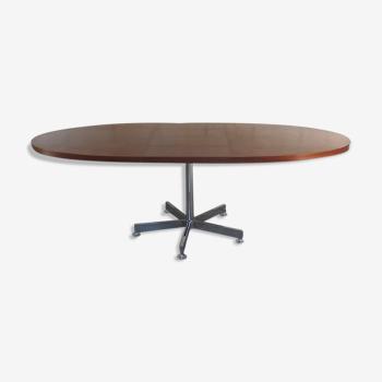 Table à manger ovale design Georges Frydman années 60 teck vintage