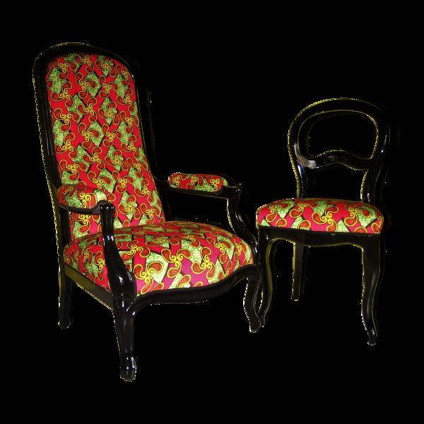 Selency Fauteuil voltaire et sa chaise coordonnée en wax