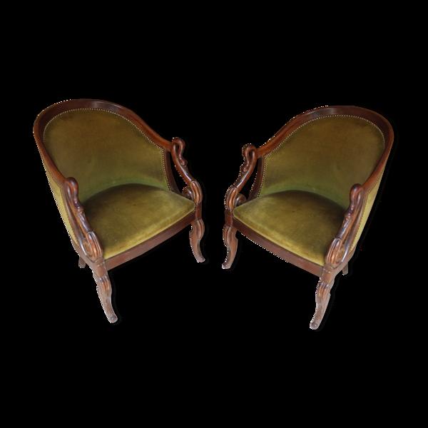 Paire de fauteuils gondole de style empire