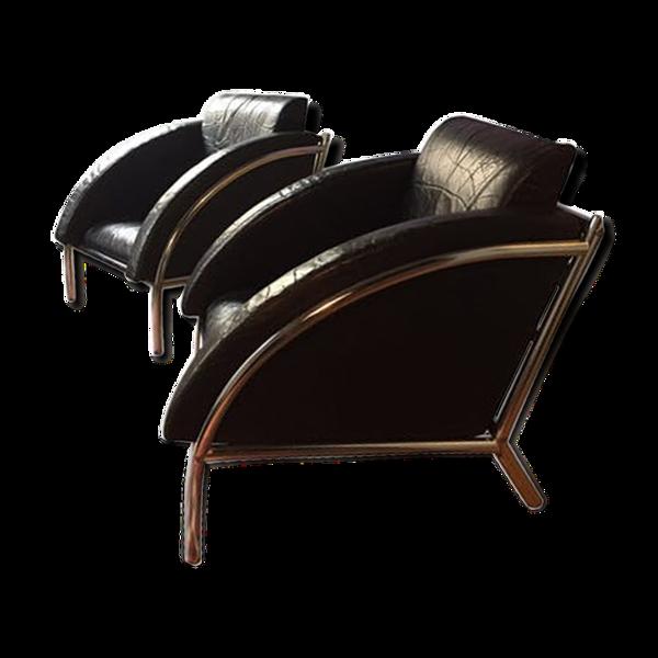 Selency Paire de fauteuil en cuir noir vintage