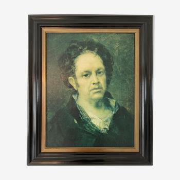 Autoportrait de Goya reproduction holographique en 3D encadrée